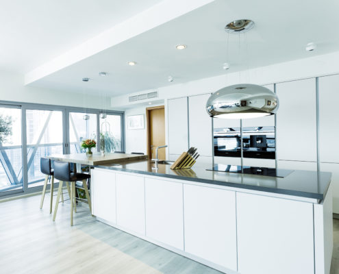 Executed Project, Dubai, Damac Park tower, Business Bay, Schüller C collection, White kitchen with black countertop