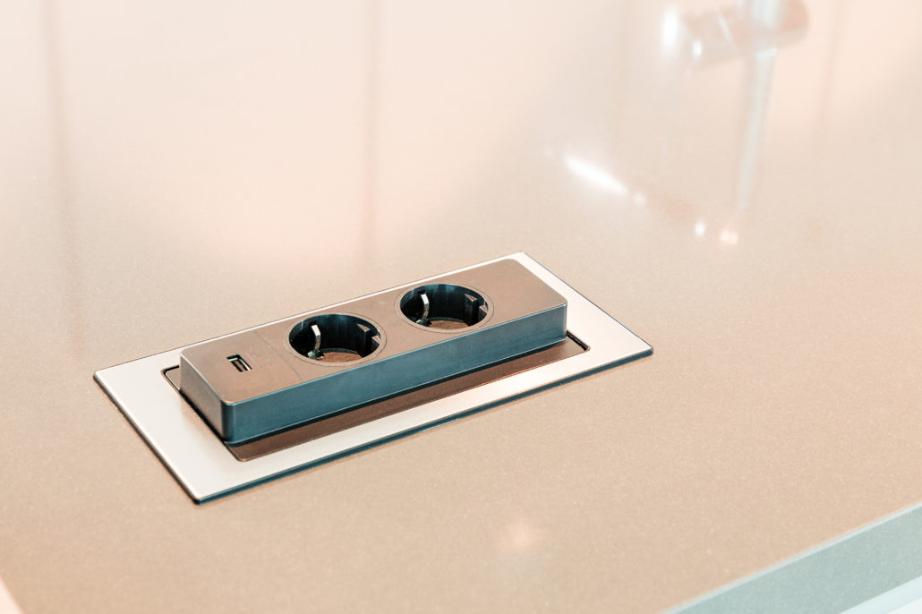 Executed Project, Dubai, Damac Park tower, Business Bay, Schüller C collection, Flip countertop socket