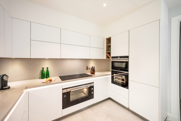 Executed Project, Dubai, Old Town, Business Bay, Schüller C collection, White kitchen with grey countertop