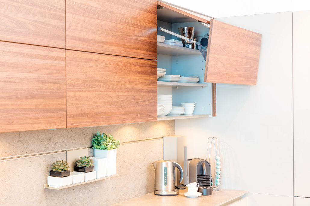 Executed Project, Dubai, Palm Jumeirah, Schüller next125 kitchen, COR bar stools, German brands, Beige and Walnut finish kitchen with Silestone Dekton Keon, Cube system, Flap fold cabinet door