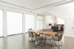 Executed Project, Dubai, Jumeirah, Schüller kitchen, COR bar stools, Occhio lighting, German brands, White kitchen with dark grey worktop, COR dining table and chairs, walnut veneer, beige grey leather