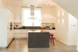 Executed Project, Dubai, Jumeirah, Schüller kitchen, COR bar stools, Occhio lighting, German brands, White kitchen with dark grey worktop