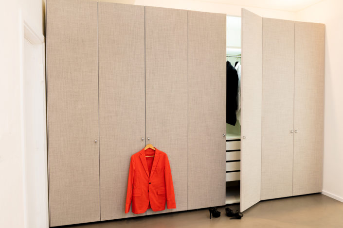 Executed Project, Dubai, Jumeirah, Interlübke wardrobe, German brand, small space maximum storage, cloth cladded doors, Magrudy
