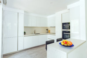 Executed Project, Dubai, Springs, Schüller kitchen, COR bar stools, German brands, White kitchen with Silestone Bianco River worktop and backsplash