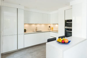 Executed Project, Dubai, Springs, Schüller kitchen, COR bar stools, German brands, White kitchen with Silestone Bianco River worktop, lights off