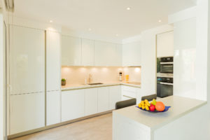Executed Project, Dubai, Springs, Schüller kitchen, COR bar stools, German brands, White kitchen with Silestone Bianco River worktop, lights on