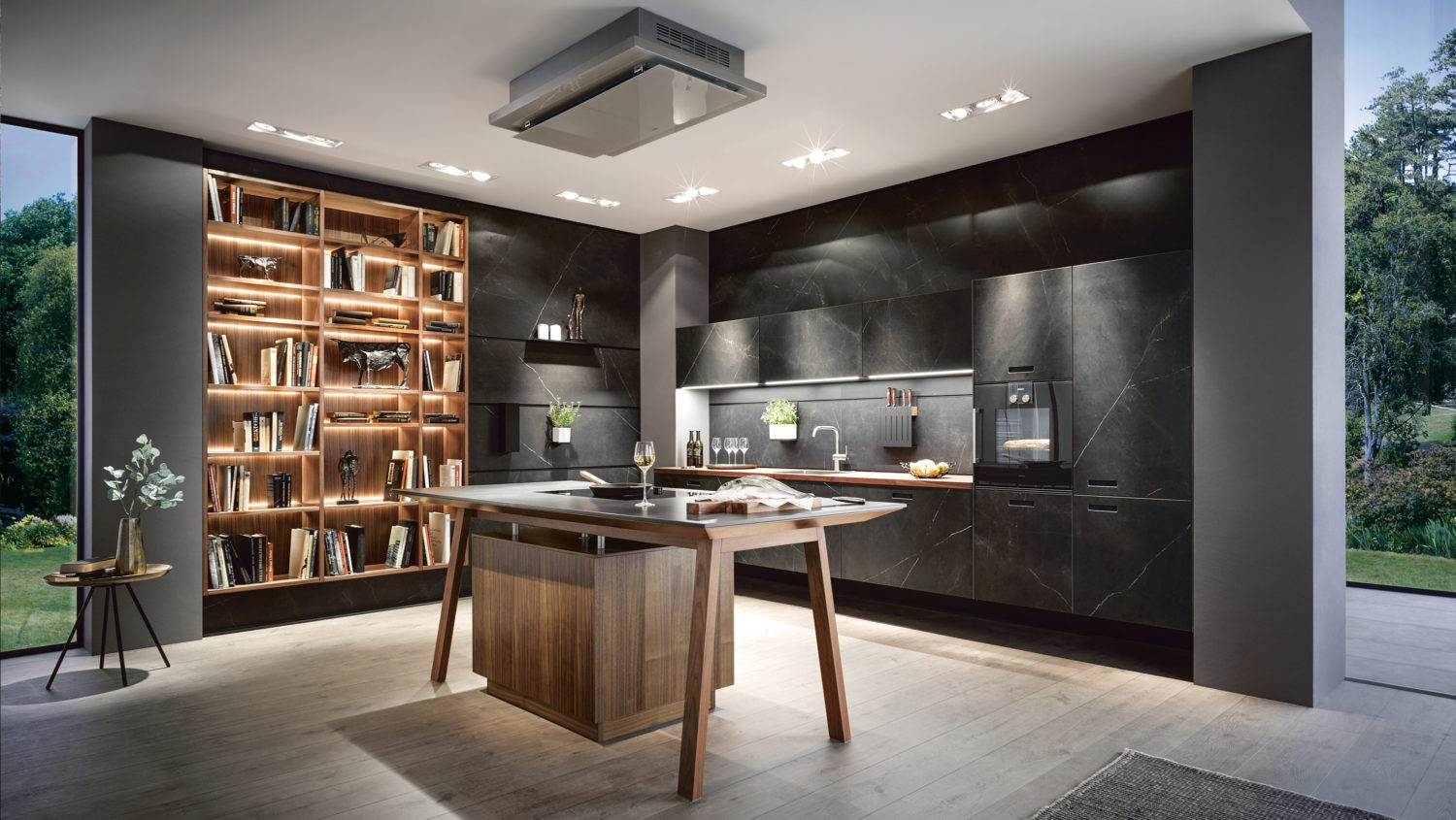 Nero kitchen by next125 premium kitchen by Schüller, Germany. Featuring Cooking Table and Cube system