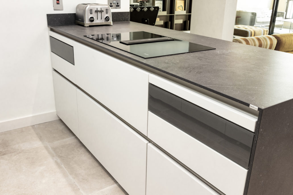 Executed project - Kitchen in Dubai Old Town, Black and White Kitchen which also has Cube system and Cosentino countertop