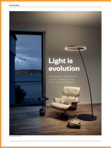Identity Magazine, magazine, article about Occhio lighting in Dubai exclusively with Goettling Interiors, Featuring Mito Sospeso in Goettling Interiors Showroom