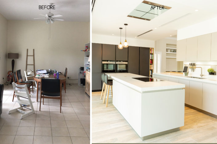 before and after images of a kitchen renovation in dubai by goettling interiors using grey and black schüller kitchens