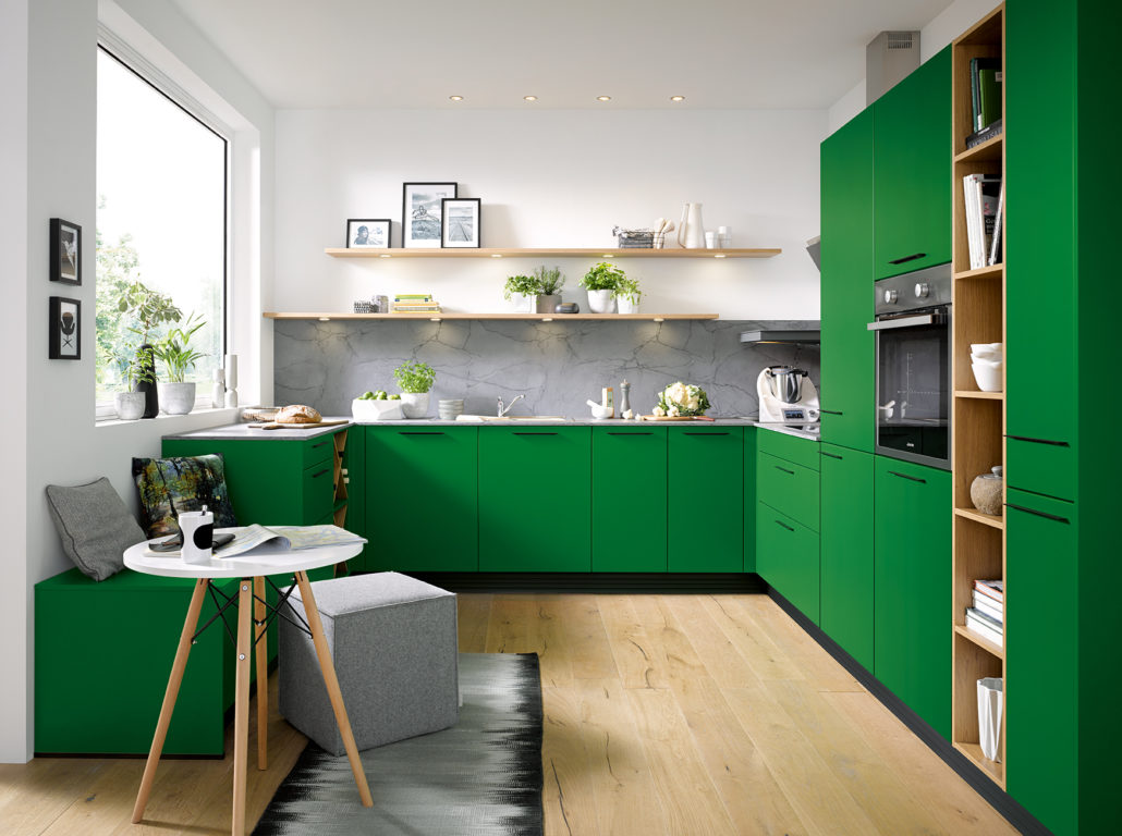 Schüller C collection Biella kitchen, Green Kitchen, color blocking, small kitchen