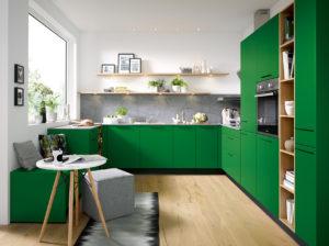 Schüller C collection Biella kitchen, Green Kitchen, color blocking, small kitchen