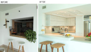before and after photos of kitchen transformation by goettling interiors in park island dubai
