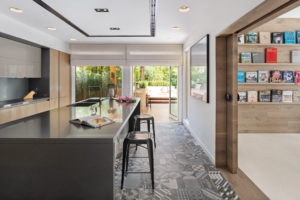 Open Schüller kitchen that opens out to the backyard in Arabian Ranches Dubai