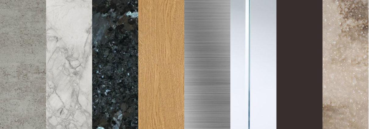 quartz, ceramic, stone, hardwood, metal, glass, laminate, composite materials for countertop in kitchen