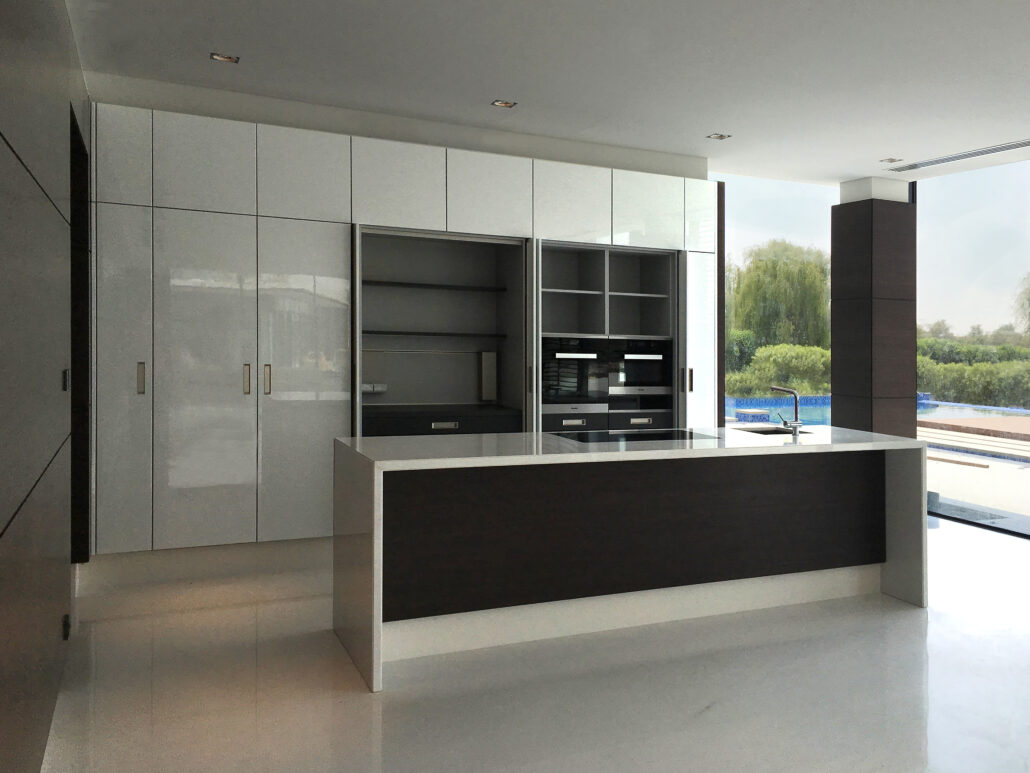 HQ Al Khawaneej Private Villa Kitchen Project by Goettling Interiors (Pocket Doors Open)