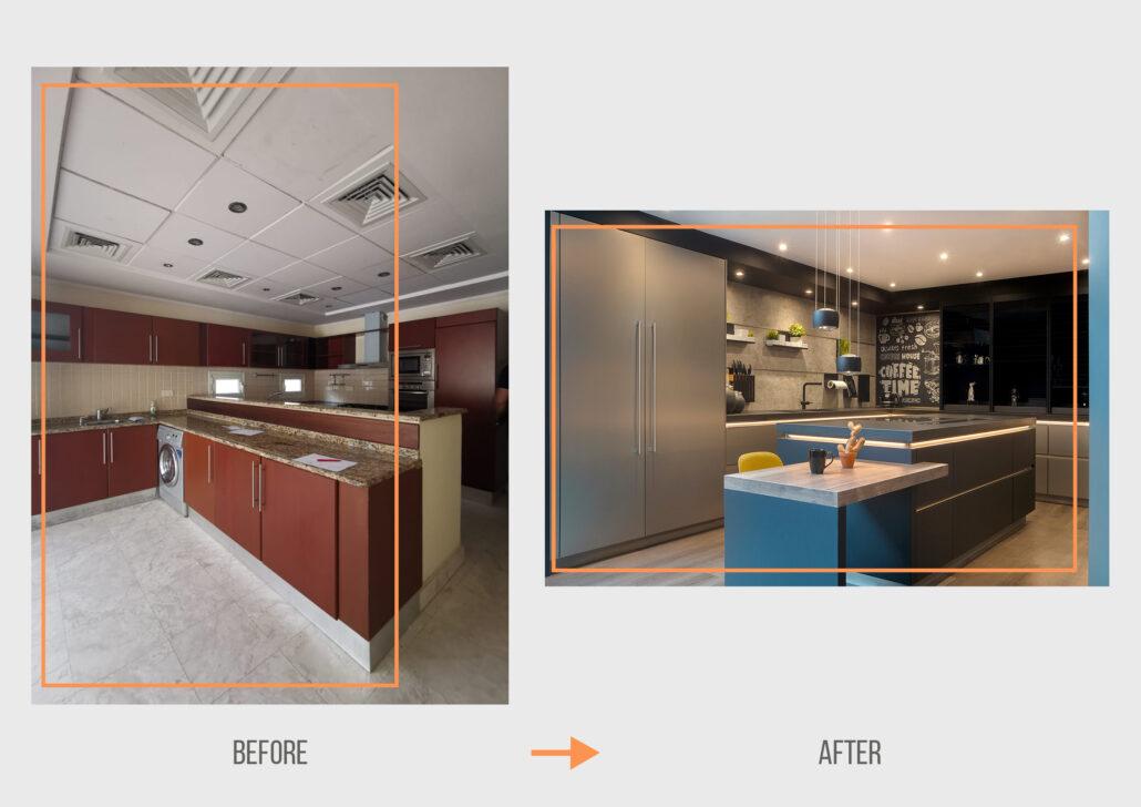 Before&After ZK Dubai Hills Hattan Villa Kitchen & Lighting Project by Goettling Interiors