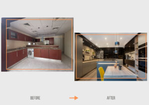 Before&After ZK Dubai Hills Hattan Villa Kitchen & Lighting Project by Goettling Interiors