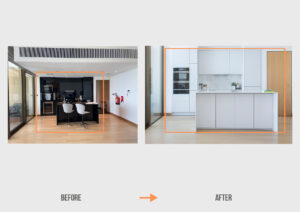 Before&After NH Bulgari Residences Apartment Kitchen & Lighting Project by Goettling Interiors