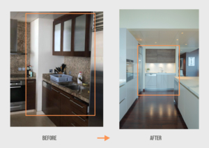 Before&After AL Burj Khalifa Apartment Kitchen Project by Goettling Interiors