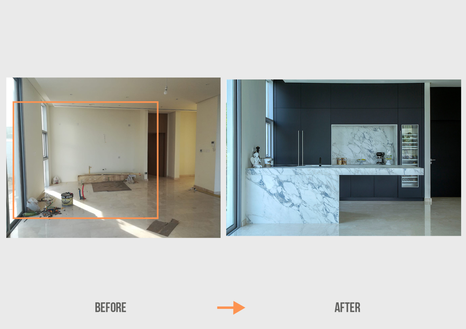 Before&After - MN Parkway Dubai Hills Villa Kitchen Project by Goettling Interiors
